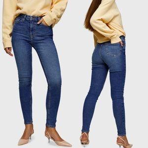 Topshop Jamie High Waist Skinny Jeans Blue 26 x 30